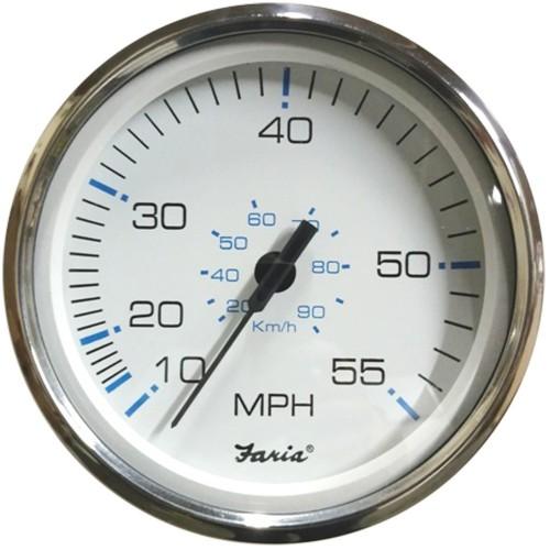 Faria 5- Speedometer 55 MPH Chesapeake White w-Stainless Steel Bezel