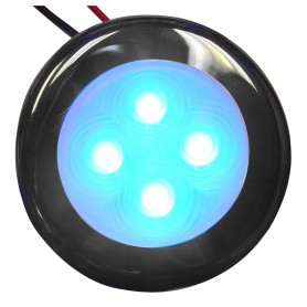 Aqua Signal Bogota 4 LED Round Light - Blue LED w-Stainless Steel Housing