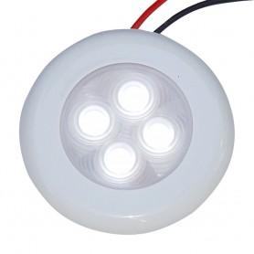 Aqua Signal Bogota 4 LED Round Light - White LED w-White Plastic-Optional Chrome Housing