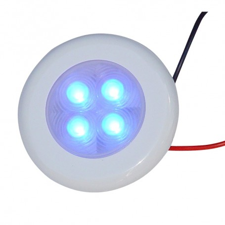 Aqua Signal Bogota 4 LED Round Light - Blue LED w-White Plastic-Optional Chrome Housing