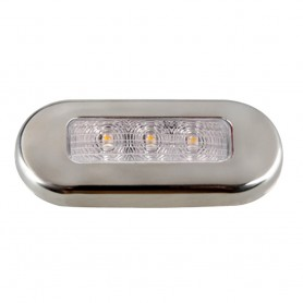 Aqua Signal Cordoba LED Oblong Oval Courtesy Light - 12V - Warm White w-Stainless Steel Housing