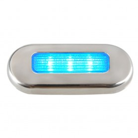 Aqua Signal Cordoba LED Oblong Oval Courtesy Light - 12V - Blue w-Stainless Steel Housing