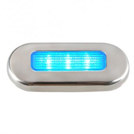 Aqua Signal Cordoba LED Oblong Oval Courtesy Light - 12V - Blue w-Stainless Steel Housing