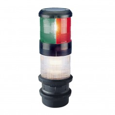 Aqua Signal Series 40 Tri-Color-Anchor-Strobe Deck Mount Light w-quicfits- Black Housing