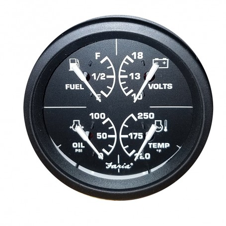 Faria 4- 4-in-1 Gauge - 10-18V 100 0- 120-250 Temp Duel - Black