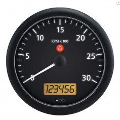 VDO ViewLine Onyx 3-000 RPM 5- -4 3-8- -110mm- Mounting- Tachometer w-2 Hourmeters- Clock Voltmeter - 12-24V