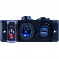 Sea-Dog Double USB Power Socket Panel w-Breaker Switch