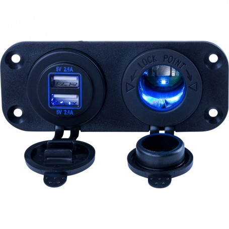 Sea-Dog Double USB Power Socket Panel