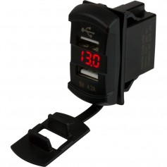 Sea-Dog Dual USB Rocker Switch Style Voltmeter w-Hidden Display