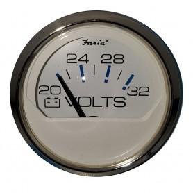 Faria 2- Voltmeter 20-32 VDC Chesapeake White - Stainless Steel Bezel