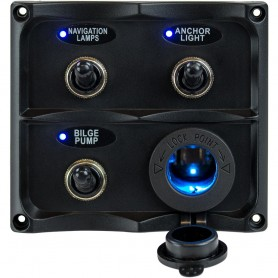 Sea-Dog Water Resistant Toggle Switch Panel w-LED Power Socket - 3 Toggle