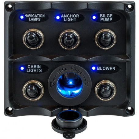 Sea-Dog Water Resistant Toggle Switch Panel w-LED Power Socket - 5 Toggle