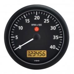 VDO Viewline 4-3-8- -110MM- Onyx 4000 RPM Tachometer w-Multifunction LCD - Black