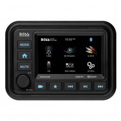 Boss Audio Bluetooth -Audio Streaming- Marine Gauge Digital Media AM-FM Receiver - Black