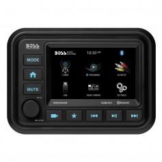 Boss Audio Bluetooth -Audio Streaming- Marine Gauge Digital Media AM-FM Receiver - Black