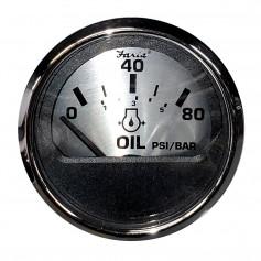 Faria 2- Oil Pressure Gauge -80 PSI- - Spun Silver