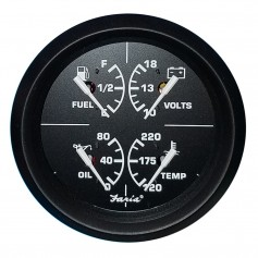 Faria 4- 4-in-1 Multifunction Gauge - Voltmeter -10-16- Fuel Level - Oil PSI -80 PSI- - Water Temp -100-250F-