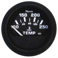Faria 2- Heavy-Duty Water Temperature Gauge -100-250F- - Black