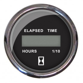 Faria 2- Hourmeter 10-000 Hours Digital- 12-32VDC - Chesapeake Black w-Stainless Steel Bezel