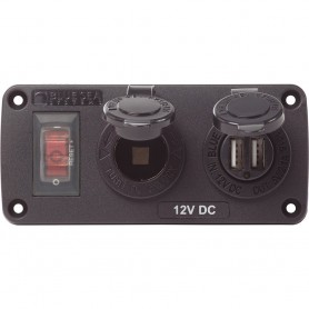 Blue Sea 4363 Water Resistant USB Accessory Panels - 15A Circuit Breaker- 12V Socket- 2-1A Dual USB Charger