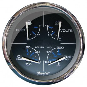 Faria 5- Multifunction Gauge Chesapeake Black w-Stainless Steel - Fuel- Oil -PSI-- Water Temp Voltmeter