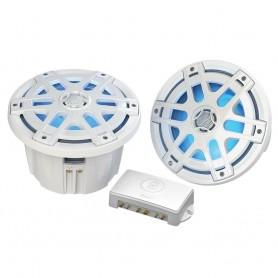 Poly-Planar MA-OC8 8- Round Waterproof Blue LED Lit Speaker - White
