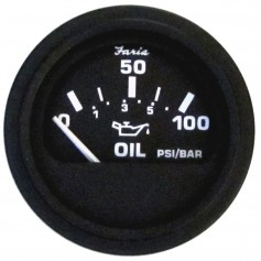 Faria Heavy-Duty 2- Oil Pressure Gauge -80 PSI- - Black