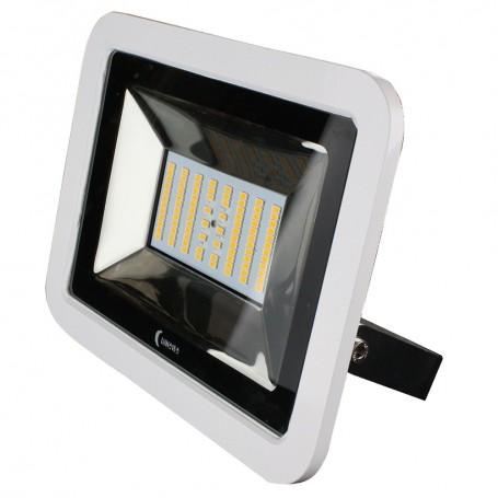 Lunasea 35W Slimline LED Floodlight- 120-240VAC Only- Cool White- 4500 Lumens- 3 Cord - White Housing