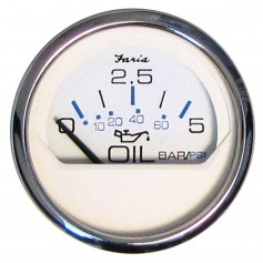 Faria 2- Oil Pressure Gauge 5 Bar Metric - Chesapeake White - Stainless Steel Bezel
