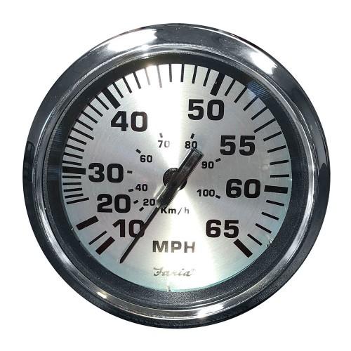 Faria 4- Speedometer -65 MPH- Pitot - Spun Silver
