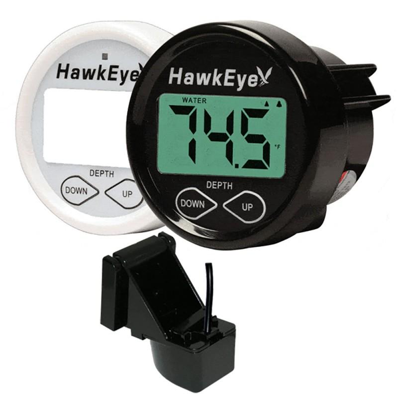 HawkEye DepthTrax 1BX In-Dash Digital Depth Temp Gauge - Transom Mount
