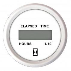 Faria 2- Hourmeter -Digital- 10-000 Hours 12-32VDC Dress White - Retail Package