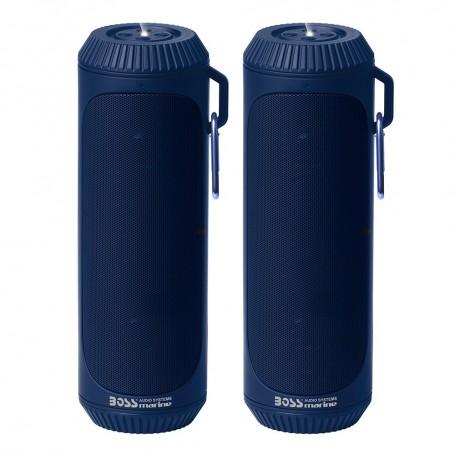 Boss Audio Bolt Marine Bluetooth Portable Speaker System with Flashlight - Pair - Blue