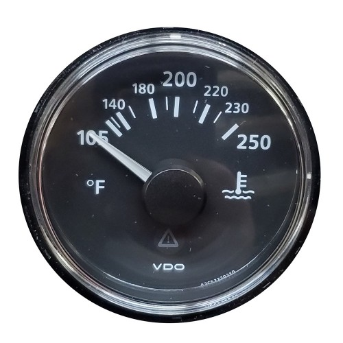 VDO ViewLine Onyx 250F Water Temperature Gauge 12-24V with VDO Sender US Thread Adapters - Bezel NOT Included