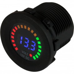 Sea-Dog Round Voltage Meter DC - 5V-15V w-Rainbow Dial