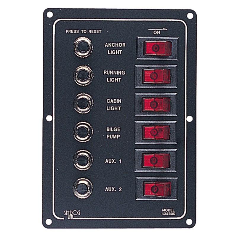 Sea-Dog Aluminum Circuit Breaker Panel - 6 Circuit