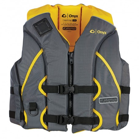 Onyx All Adventure Shoal Life Jacket - Adult S-M - Yellow-Grey