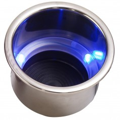 Sea-Dog LED Flush Mount Combo Drink Holder w-Drain Fitting - Blue LED
