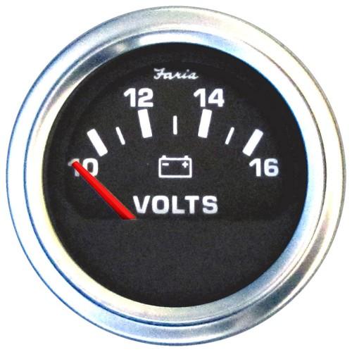 Faria 2- Heavy-Duty Voltmeter -10-16 VDC- - Black w-Stainless Steel Bezel