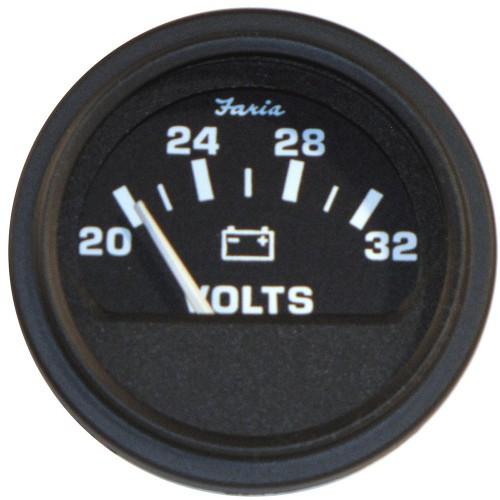 Faria 2- Heavy-Duty Voltmeter -14-32 VDC- - Black