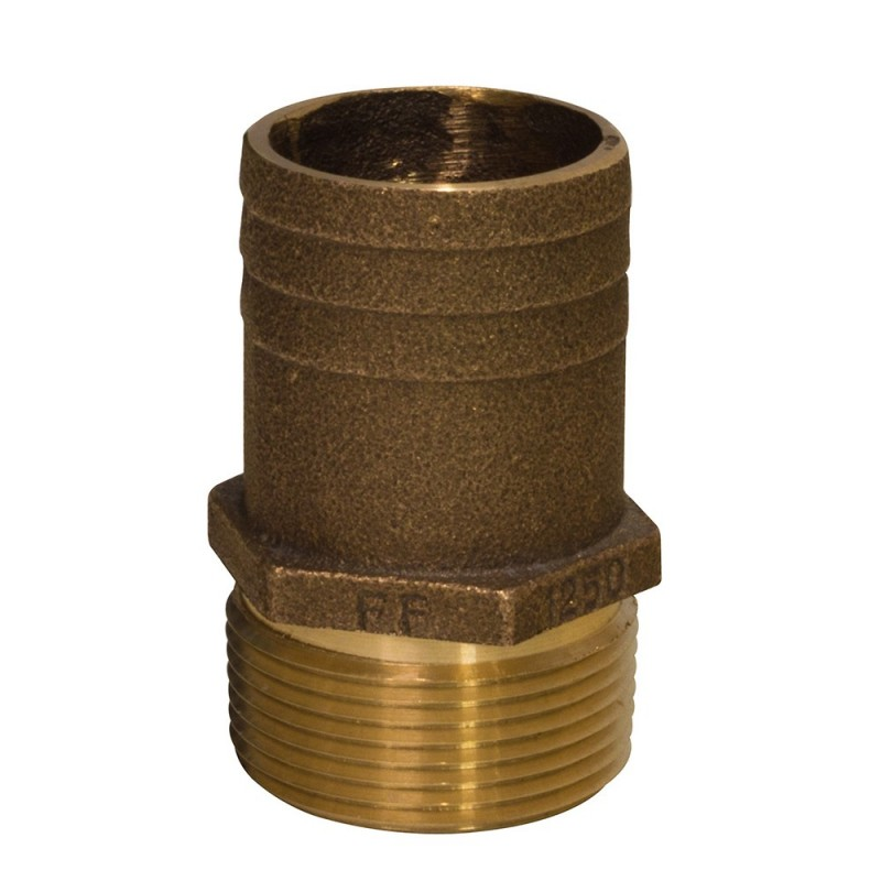 GROCO 1-1-2- NPT x 1-3-4- Bronze Full Flow Pipe to Hose Straight Fitting