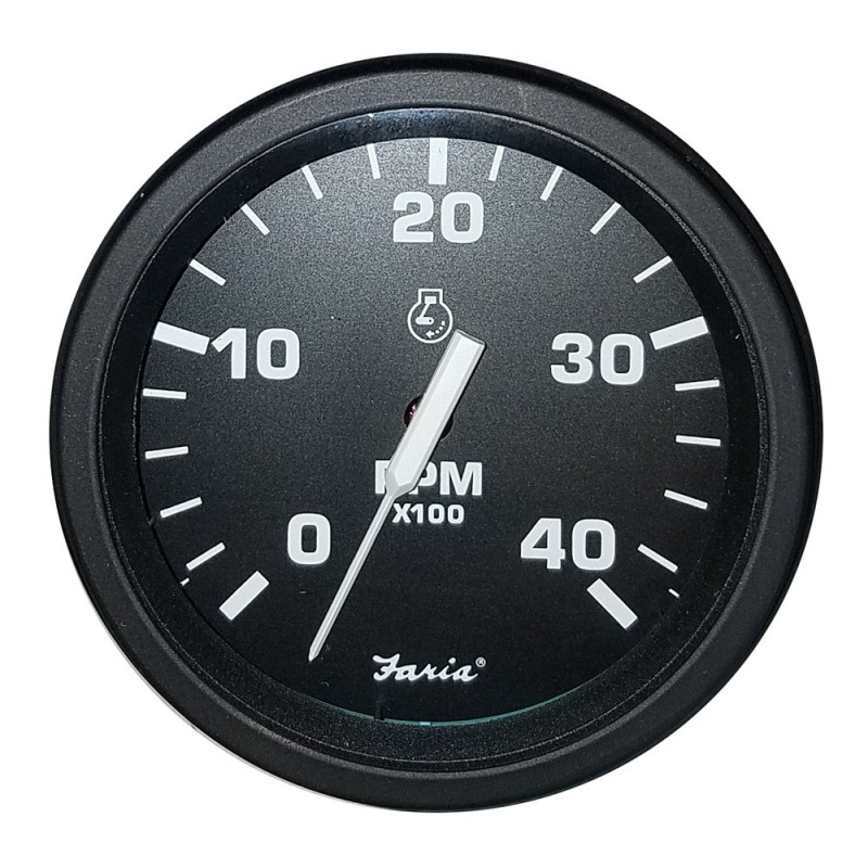 Faria 4- Heavy-Duty Tachometer -4000 RPM- Diesel -Mag P-U- - Black -Bulk Case of 12-