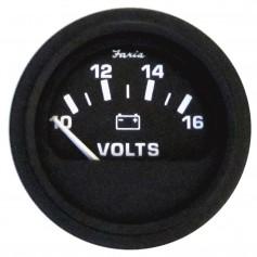Faria 2- Heavy-Duty Voltmeter -10-16 VDC- - Black