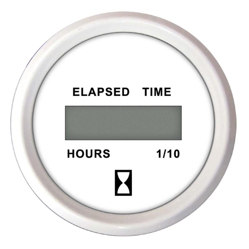Faria 2- Hourmeter -Digital- 10-000 Hours 12-32VDC Dress White -Bulk Case of 24-