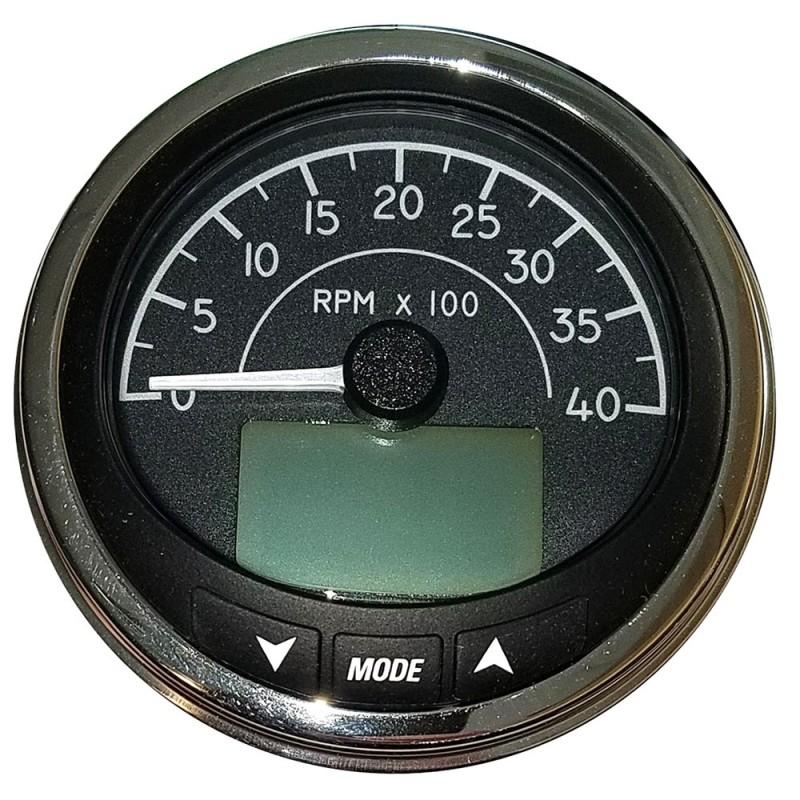 Faria 4- Tachometer -4000 RPM- J1939 Compatible w-o Pressure Port - Euro Black w-Stainless Steel Bezel