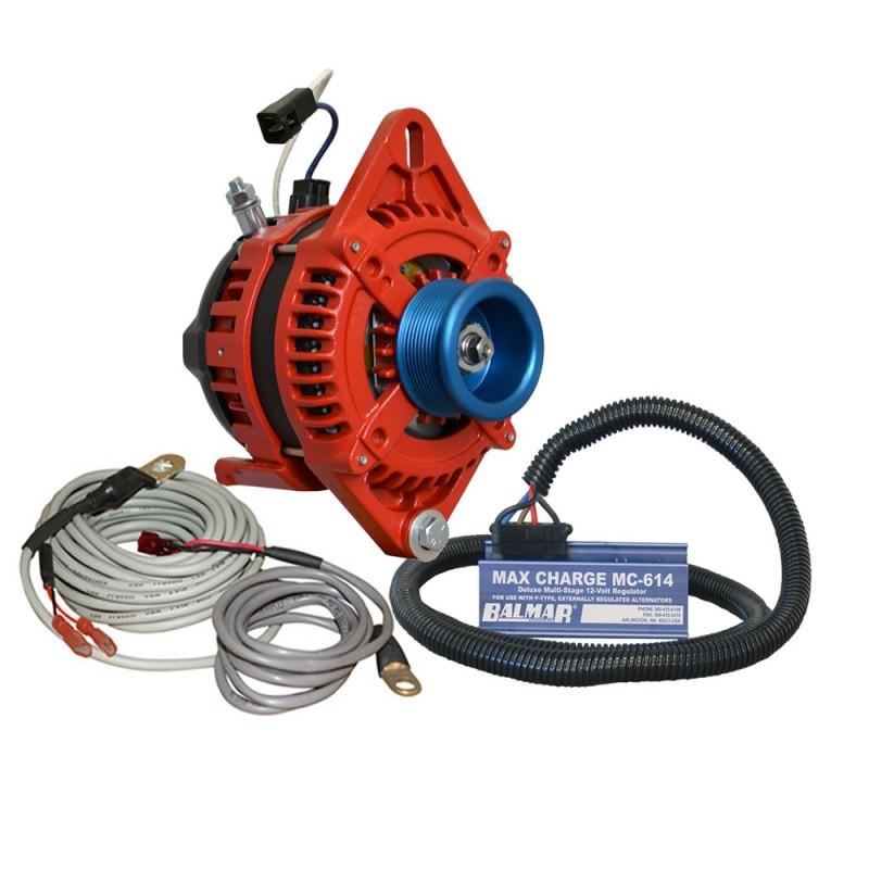 Balmar Alternator 1-2- Single Foot J10 Serpentine Pulley Regulator Temp Sensor - 170A Kit - 12V