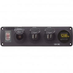 Blue Sea 4368 Water Resistant USB Accessory Panel - 12V Socket- 2x 2-1A Dual USB Chargers- Mini Voltmeter