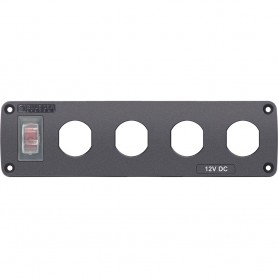 Blue Sea Water Resistant USB Accessory Panel - 15A Circuit Breaker- 4x Blank Apertures