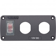 Blue Sea 4364 Water Resistant USB Accessory Panel - 15A Circuit Breaker- 2x Blank Apertures