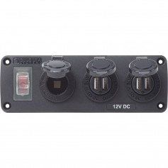 Blue Sea 4365 Water Resistant USB Accessory Panel - 15A Circuit Breaker- 12V Socket- 2x 2-1A Dual USB Chargers